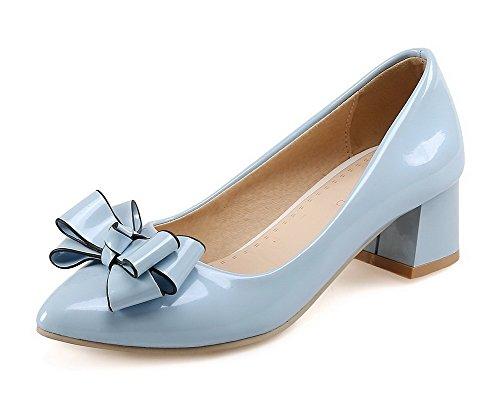 AllhqFashion Damen Pu Leder Rein Ziehen Auf Spitz Zehe Mittler Absatz Pumps Schuhe Blau