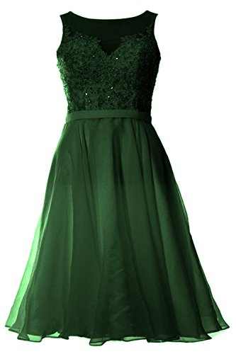 MACloth Women Bateau Lace Short Homecoming Cocktail Dress Evening Party Gown Verde Oscuro