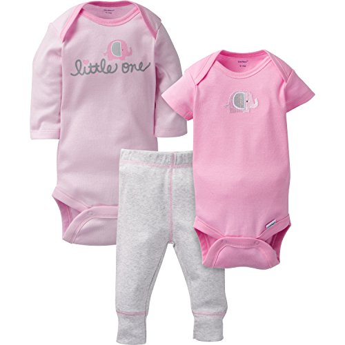 Gerber Baby 3 Piece Long and Short Sleeve Onesies With Pant, elephant, 0-3 Months
