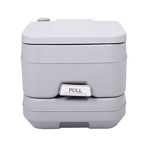JAXPETY 2.8 Gallon 10L Flush Porta Potti Outdoor Indoor Travel Camping Portable Toilet for Car, Boat, Caravan, Campsite, Hospital Gray