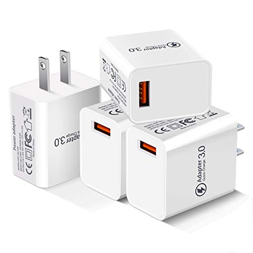USB Wall Charger Fast Adapter, Besgoods 18W 4-Pack Wall Charger Block Home Travel USB Plug Compatible with Wireless Charger, Samsung Galaxy S9 S8/Note 8 9, iPhone, iPad, LG, HTC - White