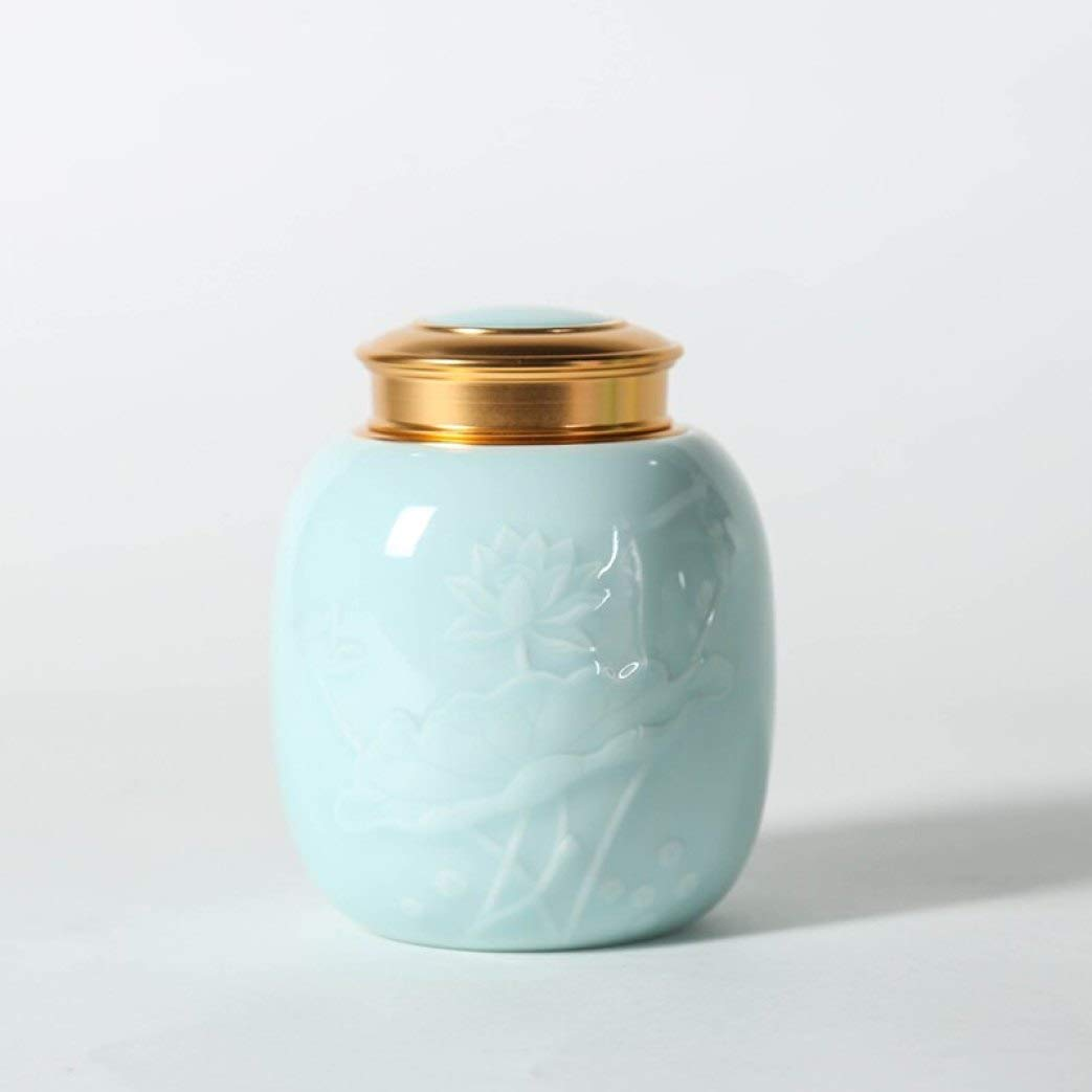 Celadon Tea Caddies Lotus Pattern Seal Cans Kung Fu Tea Set Accessories Coffee Beans Sugar Storage Jar Canister for Home