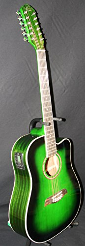 Oscar Schmidt 12 String Acoustic/Electric Guitar, Spruce Top, Trans Green OD312CETGR