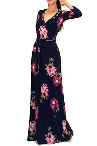d0fc880ed00 VIVICASTLE Women s Printed V-neck 3 4 Sleeve Faux Wrap Waist Tie Long Maxi  Dress (Large