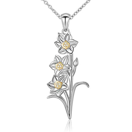 Sterling Silver Daffodil Narcissus Flower Pendant Necklace 18