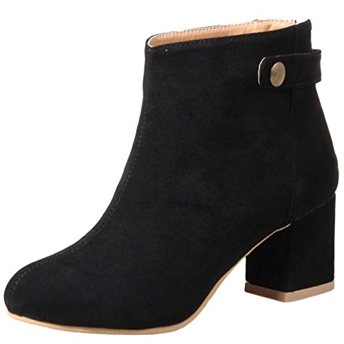 TAOFFEN Women Vintage Winter Warm Booties Ankle High Block Heel Black CPm3n