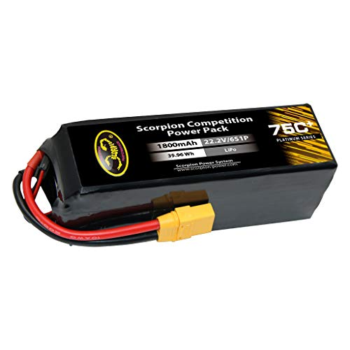 Scorpion 6 Cell - Scorpion Power 1800mAh 75c 22.2v 6 Cell LiPo Battery with XT60 for RC Car Boat Truck Airplane Helicopter Drone - Battery Pack