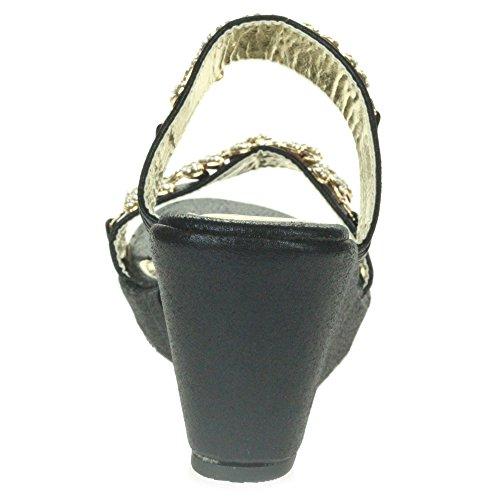 Bal des sur Taille Chaussures Noir Diamante Femmes Dames Sandales Cristal Soir De de Glisser Fête mariée Mariage compensé Talon qP6YPWn
