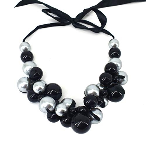 MeliMe CIOOU Womens Imitation Pearl Twisty Chunky Bib Necklace Chokers for Wedding Party (Ribbon Black/Grey Pearl)
