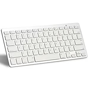 OMOTON Ultra-Slim Bluetooth Wireless Keyboard, White