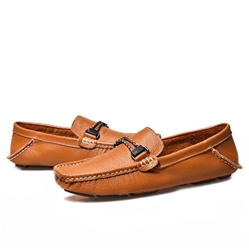 Sunrolan Leonardo Mens Conduite Chaussures En Cuir Slip-on Penny Mocassins Marron