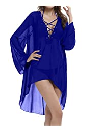Honeystore Women's Sheer Chiffon V-Neck Swimsuit Cover Up / Beachwear Dress