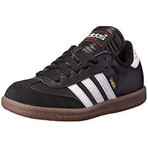 adidas Samba Classic Leather Soccer Shoe (Toddler/Little Kid/Big Kid),Black/ White,1 M US Little Kid