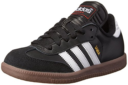 adidas Samba Classic Leather Soccer Shoe (Toddler/Little Kid/Big Kid),Black/White,10 M US Little Kid