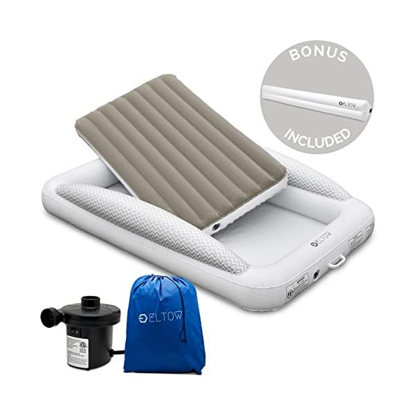 Eltow Inflatable Toddler Air Mattress Bed With Safety Bumper - Portable, Modern Travel Bed, Cot for Toddlers - Perfect For Travel, Camping - Removable Mattress, High Speed Pump and Travel Bag Included 1