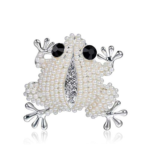 DDLKK Animal Fashion Frog Pearl Brooch Pins Alloy Plating Rhinestone Diamond Pearls for Crafts Silver Plating Women Fashion Jewelry Gifts for Women Cute Pins Multicolor Couple Brooches Party,B ()