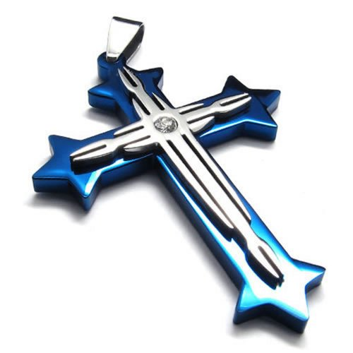 24-konov-blue-silver-stainless-steel-necklace-cross-mens-womens-pendant-24-inch-chain