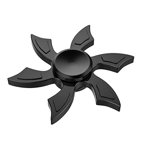 ATiC Fidget Spinner, Fly-cutter Fidget Spinner Aluminum Hand Toy Stress Reducer with Stainless Steel High-speed Bearing for ADD, ADHD, Autism Kids and Adults Killing Time, Black