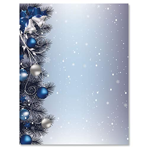 Current - Silver Bells Christmas Stationery - For Holiday Letters, Hand-Written Notes, 25 Sheets, 8½ x 11 Inches, Printer Compatible, 70# Text Opaque Paper (Christmas Stationery Envelopes And)