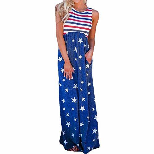 Empire Girls Shirt - OUBAO Dress for Women Girls, Flag Floral Print Sleeveless Pockets Empire Waist Pleated Long Dress Shirt Tanks Tops