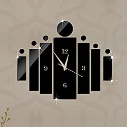 Alrens_DIY(TM)Black New Arrival Fshion Wall Clock Modern Design Art Luxury Acryic Non-ticking Quiet Quartz Clock Watch DIY Removable 3D Crystal Mirror Wall Clock Wall Sticker Home Decor Art Living Room Bedroom Office Decoration