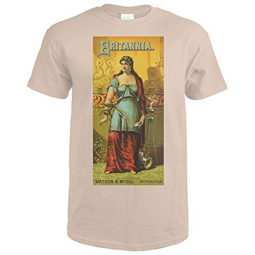 Petersburg, Virginia - Britannia Brand Tobacco Label (Sand T-Shirt - Wall Britannia Medium