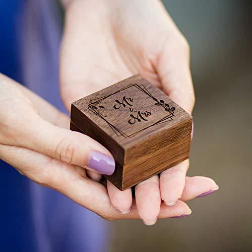 Engraved Wood Mr & Mrs Square Ring Box - Flat Top Rotating Wedding Ceremony Ring Bearer Box - Ring Dish - Jewelry Storage Box (Engraved Ring Box)