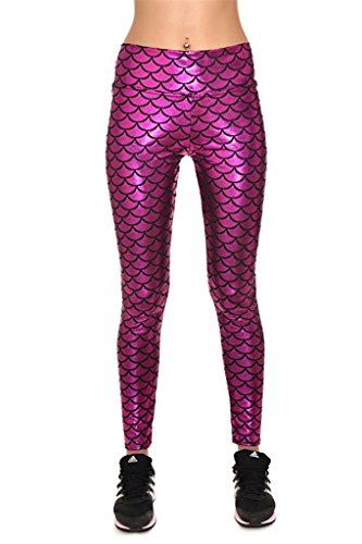 Tobyak Womens High Waist Mermaid Leggings Stretchy Tights Skinny Pants Rose RedMedium - Shopping Arundel