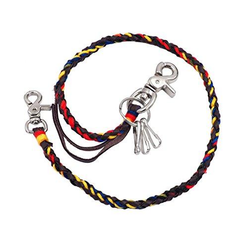 Uniqsum Vivid Cords Braided Leather wallet chain Swivel Trigger snap Biker Punk Key chain (Vivid Brown) ()
