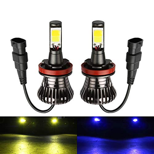 1797 LED H11 H8 H16(JP) Fog Light Bulb Amber Yellow 3000K Blue 8000K Dual Color for Trucks Cars Lamps DRL Lights Kit Replacement Bulbs Plug Canbus 12V 30W 2800LM Super Bright COB Chips 1 Year Warranty