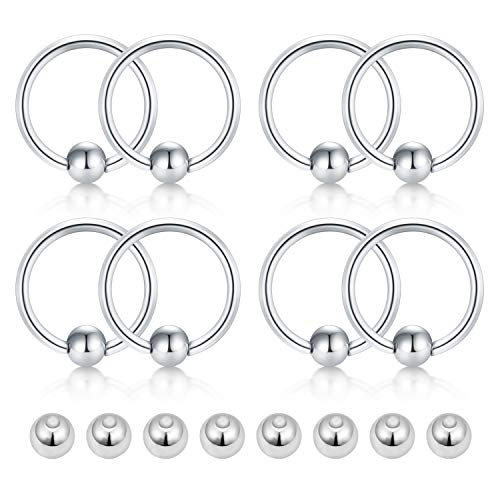 Briana Williams 14G Surgical Steel Captive Bead Rings Cartilage Earrings Nose Rings Hoop w Replacement Balls Nipple Eyebrow Tongue Belly Helix Tragus Septum Piercing ()