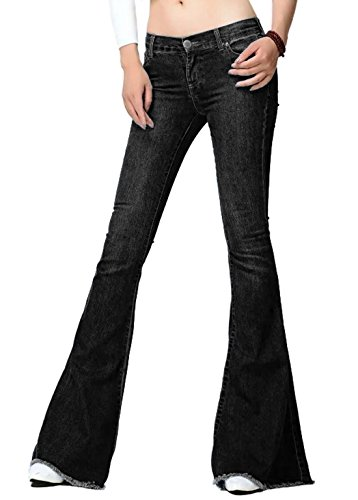 Chartou Women's Asymmetric Tassel Flared Slit Ripped Jeans Denim Pants (Medium, Dark Grey)