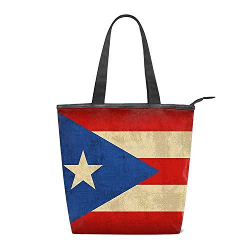 Women's Shoulder Tote Handbag, Vintage Puerto Rico Flag Travel Handbags for Shopper, Daily Purse Tote Bag