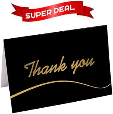 110 Highest Quality Elegant Thank You Cards in Black with Envelopes and Stickers - Bulk Notes Embossed with Gold Foil Letters for Weddings, Graduations, Engagements, Business, Formal, Baby Shower, 4x6