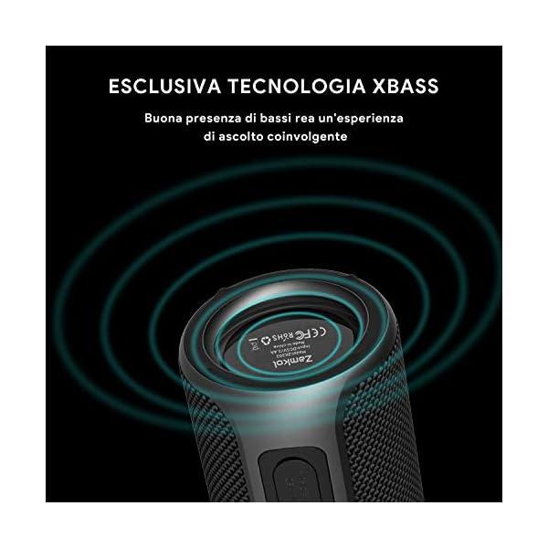 Zamkol Cassa Bluetooth 5.0, 30W HD Stereo Altoparlante Portatile con Bassi Potenti, IPX6 Waterproof Speaker bluetooth… 5 spesavip
