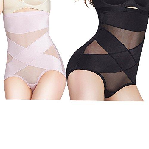 Delgada Transpirable Abdomen Levantar Las Caderas Cintura Alta Suave Mujer Después Del Parto Esculpir El Cuerpo Bragas 2 Pack Black+Pink