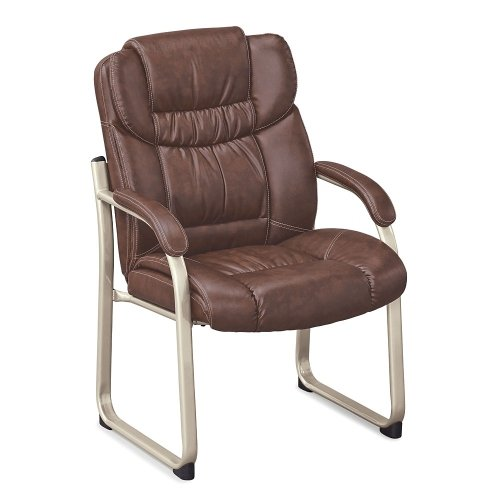 Morgan Guest Chair Savage Cocoa Faux Leather/Mocha Frame ()