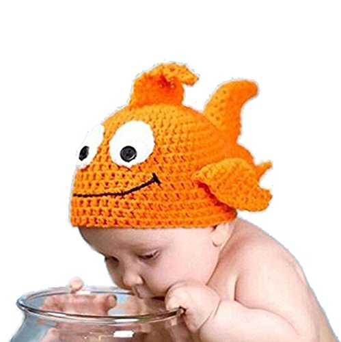 A-cool Fashion Unisex Newborn Boy Girl Crochet Knitted Baby Outfits Costume Set Photography Photo Pro-Hat (Goldfish hat) (Infant Goldfish Costume)