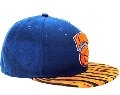 New Era 59Fifty New York Knicks Visor Real Tiger Men's Fitted Hat 5950-TIGERNEYKNI Royal Blue 734
