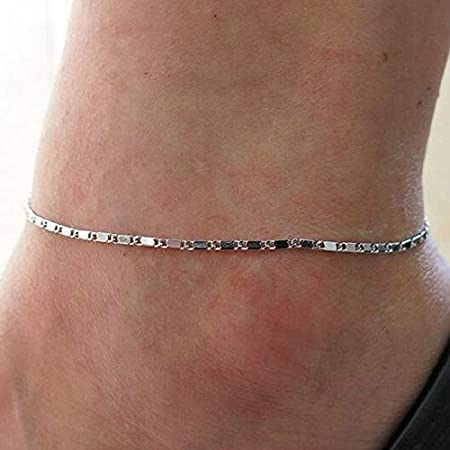 Edary Beach Bracelet de cheville Simple Bracelet de cheville Bijoux de pied de mode pour femmes et filles Argent