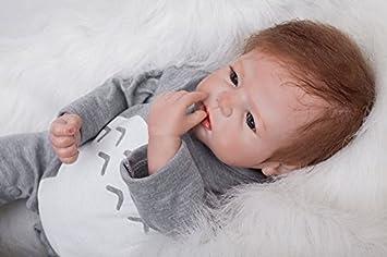 cc70baba0a Amazon.es: HOOMAI 22inch 55 cm boy muñeca reborn bebé Niño pequeño suave  silicona vinilo realista reborn baby doll Niñas Magnetismo Juguetes bebes  recien ...