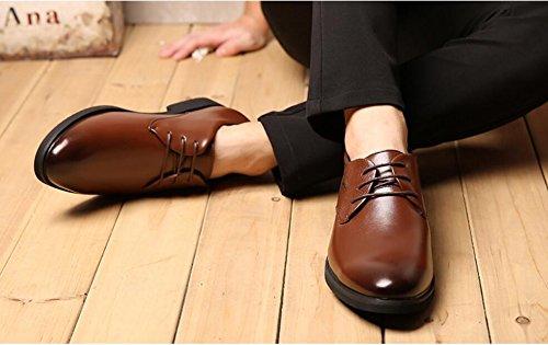 NBWE Nouveau Hommes D'affaires Casual Chaussures en Cuir Ronde Dentelles Robes Formelle Mariage Chaussures À Lacets Brown LJSGy