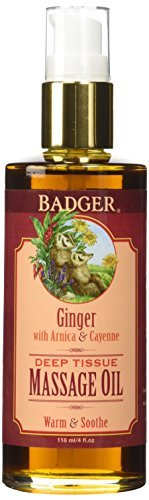 W.S. Badger Company- Deep Tissue Massage Oil w/Ginger 4 fl oz (Badger Massage Oil)