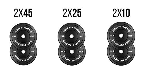 Rep Bumper Plates for CrossFit and Weightlifting 160 lb Set