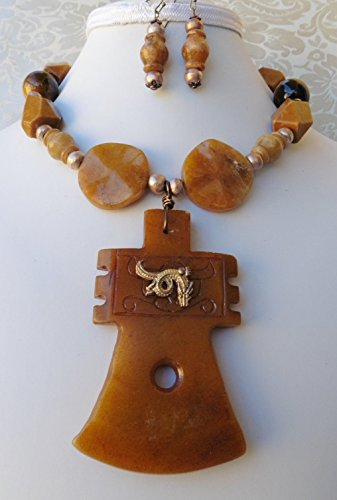 Big Carved Natural Jade Axe Dragon Necklace Earrings Tigers Eye Jasper Gemstone One of a Kind