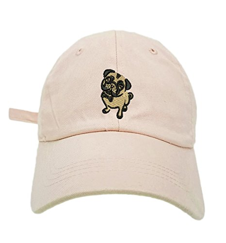 TheMonsta Pug Style Dad Hat Washed Cotton Polo Baseball Cap (Beige)