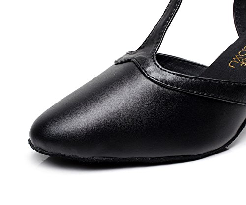 JSHOE Cuir Pointu Toe Chaton Heel Latine Ballroom Danse Chaussures Salsa / Tango / Chacha / Samba / Moderne / Jazz Chaussures,Black-heeled6cm-UK5.5/EU38/Our39