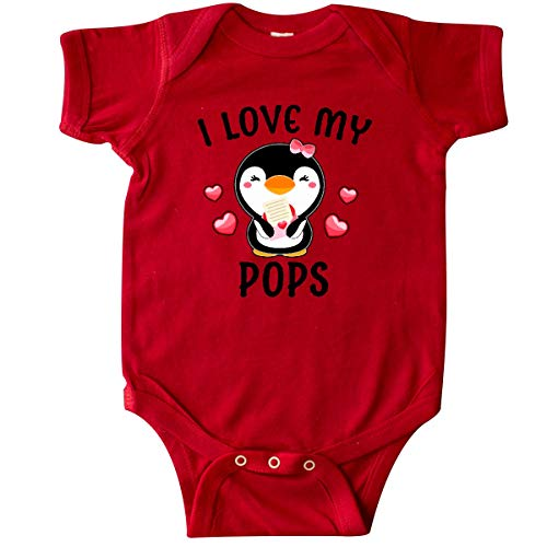 inktastic - I Love My Pops with Cute Penguin Infant Creeper 18 Months Red 342fb