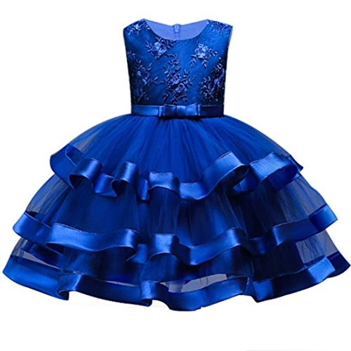 Dresses for Girls 4T Royal Blue Wedding Halloween Xmas Party Lace Dress 3-5 Years Formal Easter Tutu Dresses Sleeveless Flower Ball Gown Knee Length Size 3 4 Children Bridesmaid Dress (Blue 110) -