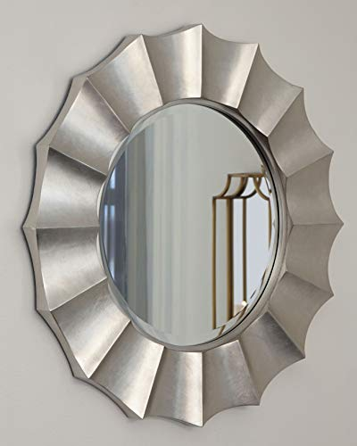 Signature Design by Ashley Elsley Accent Mirror, Silver Finish (Round Silver Mirrors)